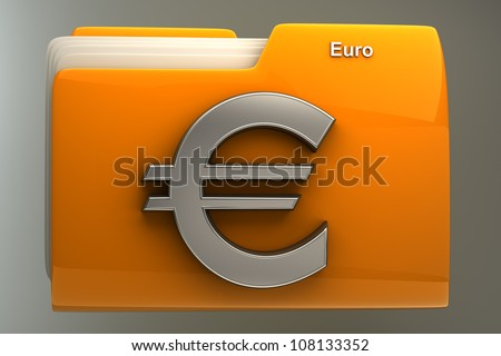 Yellow folder icon with Euro symbol High resolution