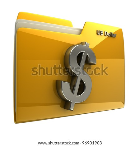 Yellow folder icon with US dollar symbol isolated on white background High resolution