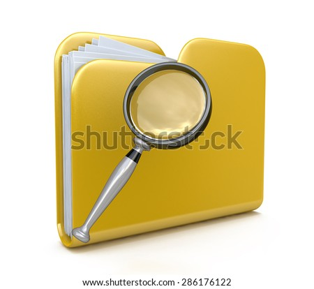 Yellow folder search 3d icon - folder under the magnifier. 3d illustration isolated on white