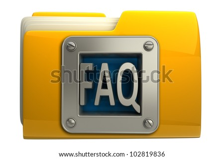 Yellow folder with FAQ symbol Icon isolated on white background High resolution 3d