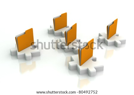 yellow folder with puzzles - stock photo