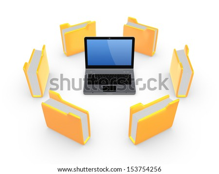 Yellow folders around notebook.Isolated on white background.3d rendered.