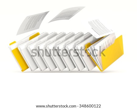 Yellow folders in a row isolated on white - stock photo