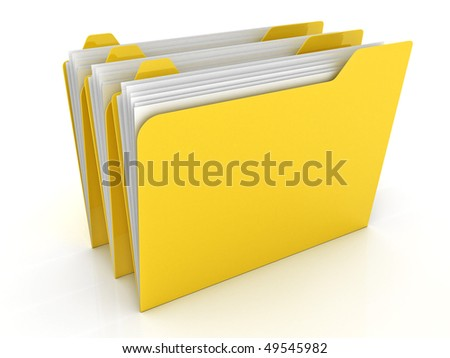 Yellow folders isolated on white background