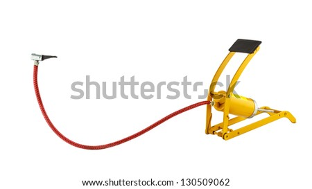 Yellow foot air pump isolated on white background - stock photo