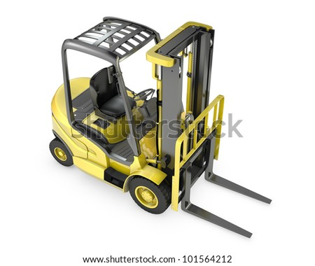 Yellow fork lift truck, top view, isolated on white background - stock photo