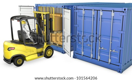Yellow fork lift truck unloads cargo container, isolated on white background - stock photo