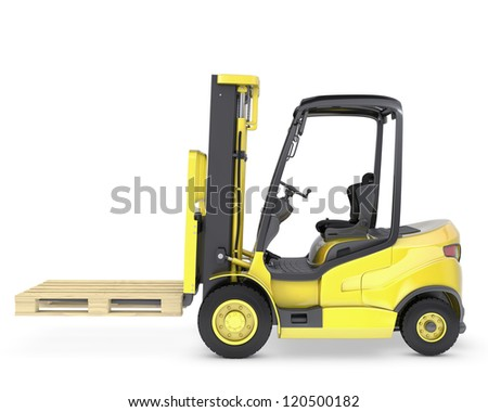 Yellow fork lift truck with pallet, isolated on white background - stock photo