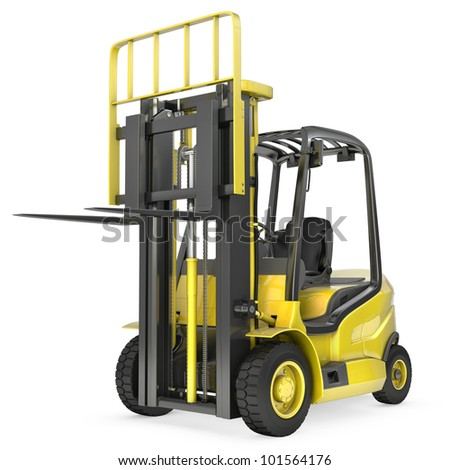 Yellow fork lift truck with raised fork, front view,  isolated on white background - stock photo