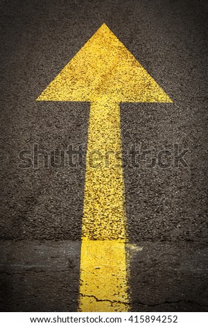 Yellow forward road sign on the asphalt road. - stock photo