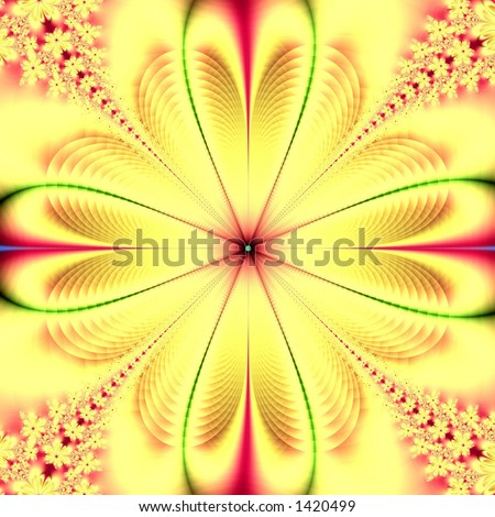 Yellow fractal flower - stock photo