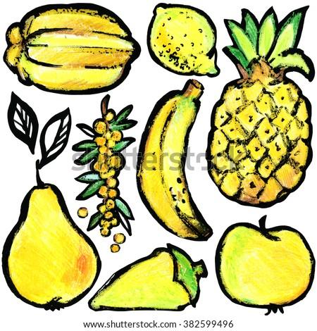Yellow fruits and vegetables. Watercolor hand drawn fruits and vegetables. Eco food background. Healthy eating. pineapple, lemon,  banana, apple, pear, sweet pepper - stock photo