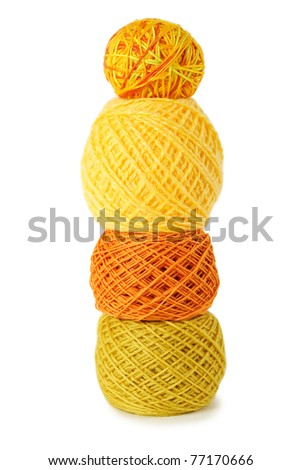 yellow gamma clews in a vertical row, isolated - stock photo