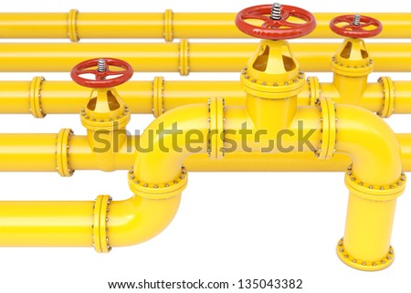yellow gas pipes. Isolated on white. - stock photo