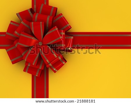 Yellow Gift box with red bow