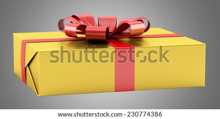 yellow gift box with red ribbon isolated on gray background - stock photo
