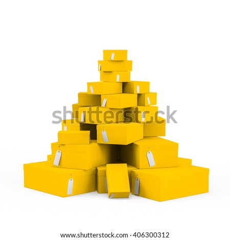 Yellow gift boxes with price tag blank isolated on white background. 3D Rendering, 3D Illustration.