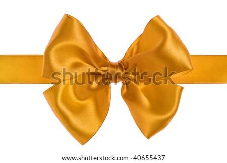 yellow gift satin ribbon bow on white background - stock photo