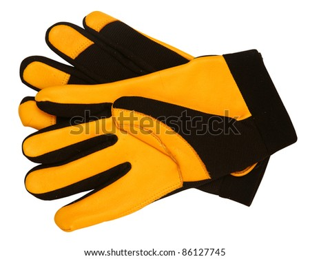 Yellow gloves, isolated on background - stock photo