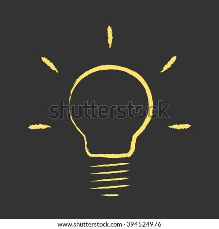 Yellow glowing hand drawn light bulb on black background. Idea, creativity, insight, innovation, technology, aha moment concept - stock photo
