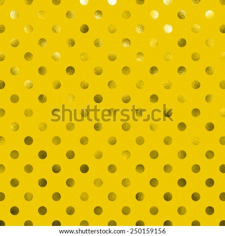 Yellow Gold Goldenrod Metallic Foil Polka Dot Pattern Swiss Dots Texture Paper Color Background