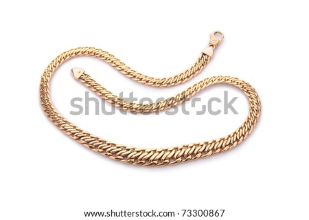 Yellow gold necklace isolated on white - stock photo