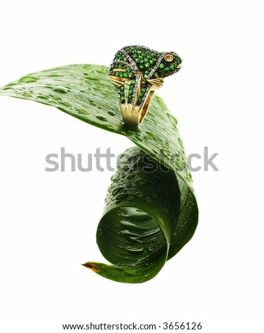 Yellow gold ring with emeralds and diamonds leaping off a wet leaf - stock photo