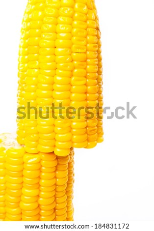 Yellow Gold Sweet Corn Half Cut isolated on white background.