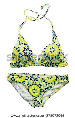 Yellow graphic ornament bikini set isolated on white background. - stock photo