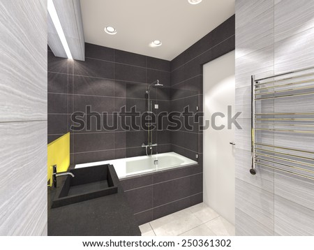 yellow, gray and brown bathroom 3D rendering - stock photo