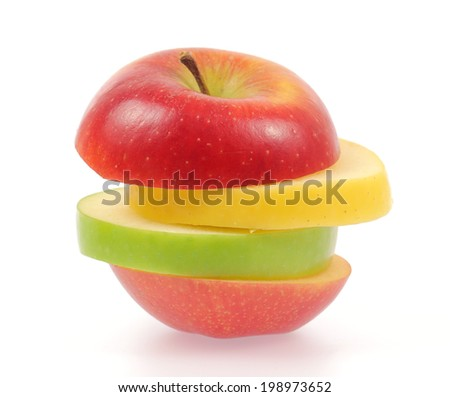 Yellow green and red apples isolated on white