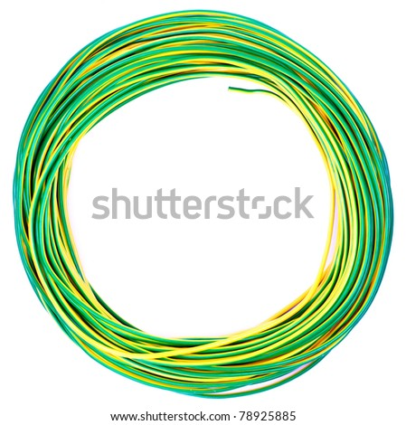 yellow green electric cable isolated on white - stock photo