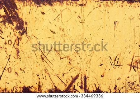 yellow grunge rusty metal background - stock photo