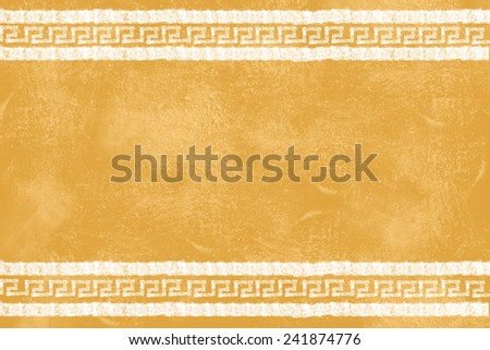 Yellow grunge texture showing wall in Mediterranean style. White lines filled by Mediterranean pattern - stock photo