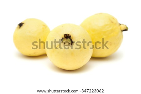 yellow guava fruit isolated on white background