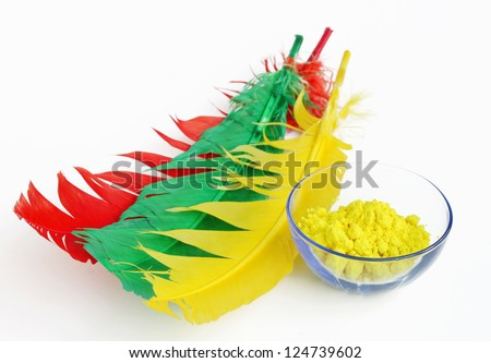 Yellow gulal kept in a bowl - stock photo