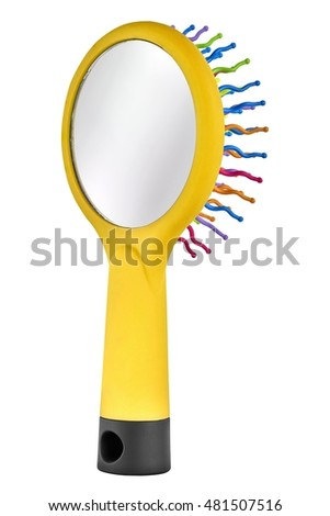 Yellow hair comb brush for children, with handle and mirror on the back, isolated on transparent or white background