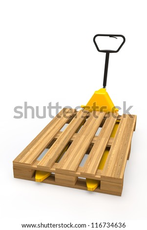 Yellow hand pallet truck with pallet in 3D - stock photo