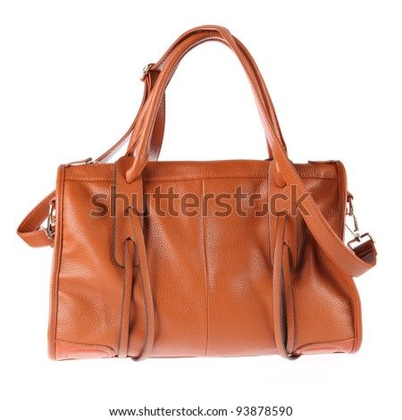 yellow handbag isolated on the white background