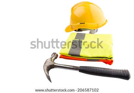 Yellow hard hat, a hammer and orange and yellow reflective best over white background