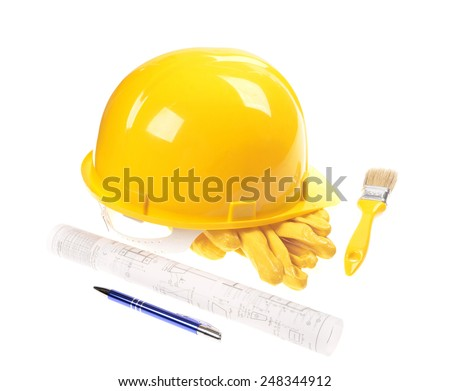 Yellow helmet, brush,project drawings isolated on white background