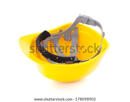 Yellow helmet isolated on white  - stock photo