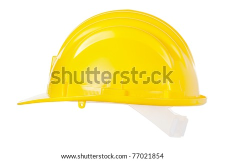 Yellow helmet isolated on white background, clipping path included - stock photo