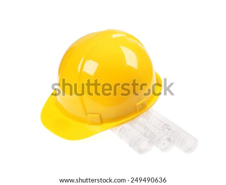 Yellow helmet, project drawings isolated on white background