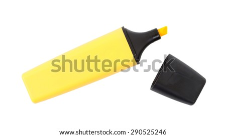 Yellow highlighter isolated over a white background - stock photo