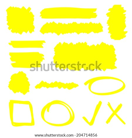 Yellow highlighter marker illustration set - stock photo