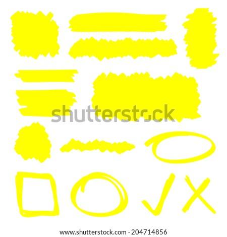 Yellow highlighter marker illustration set - stock photo