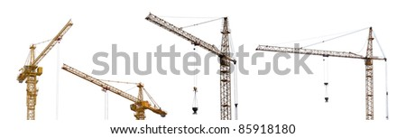 yellow hoisting cranes isolate on white background - stock photo