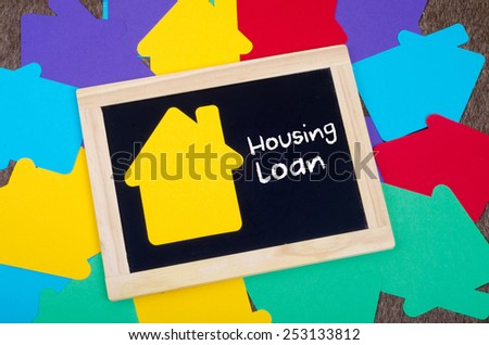 Yellow home sign on the blackboard: Real Estate Concept, Housing loan - stock photo