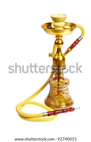 Yellow Hookah on the white background. (isolated) - stock photo
